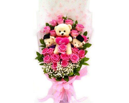contoh bucket bunga graduation